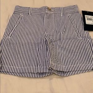 Blue and white seersucker shorts